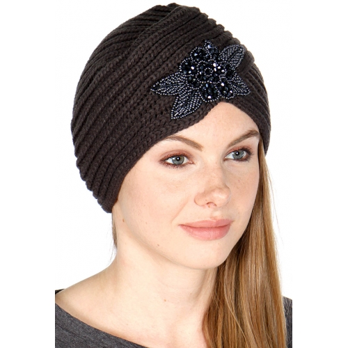 wholesale E04 Bead flower patch desert knit hat Black