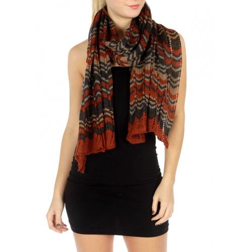 wholesale L35 Multi color wave knit shawl WN fashionunic