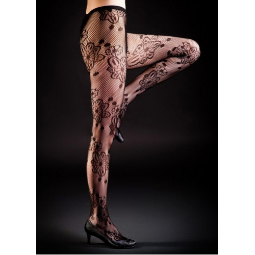 wholesale I75 Intricate flower detail fishnet pantyhose