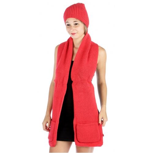 wholesale E10 Knit Pocket scarf N hat set Coral