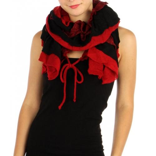 wholesale I42 3 layer knit ruffle scarf Red fashionunic