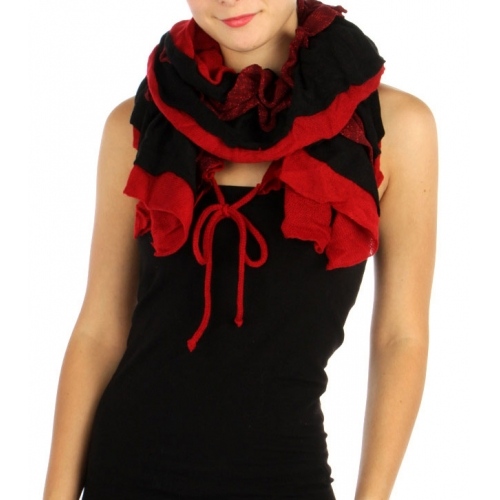 wholesale I42 3 layer knit ruffle scarf Red fashionunic