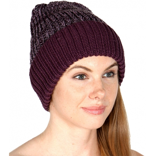 wholesale F04 2 tone knit beanie hat Black fashionunic