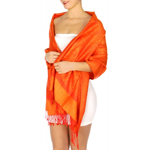 wholesale D33 Whole Jacquard Pashmina 39 Orange
