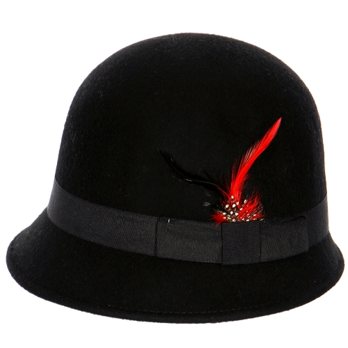 wholesale W29BX1 Feather band Wool Felt Cloche Black