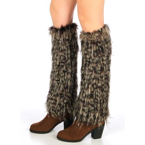 wholesale N72 Furry Leopard faux fur boot covers Black