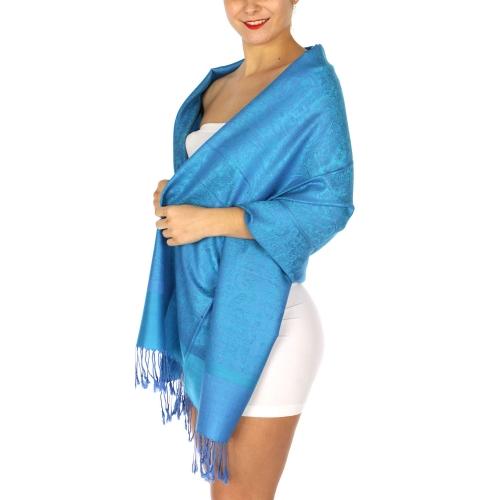 wholesale D39 Whole Jacquard Pashmina 122 Steel Blue