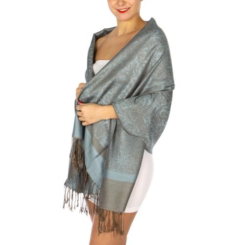 wholesale D35 Whole Jacquard Pashmina 70 Slate Grey