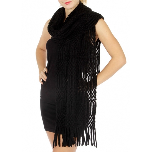 wholesale Q13 knit woven Shawl 1902 BK fashionunic