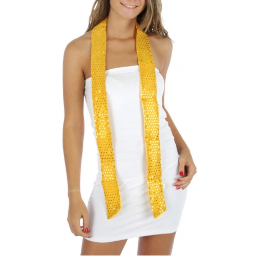 Wholesale J39 Sequin Belt Tube Scarf Yellow