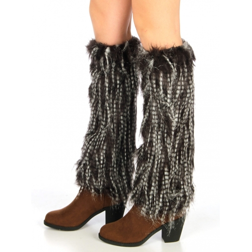 wholesale N72 Furry faux fur boot covers D Brown