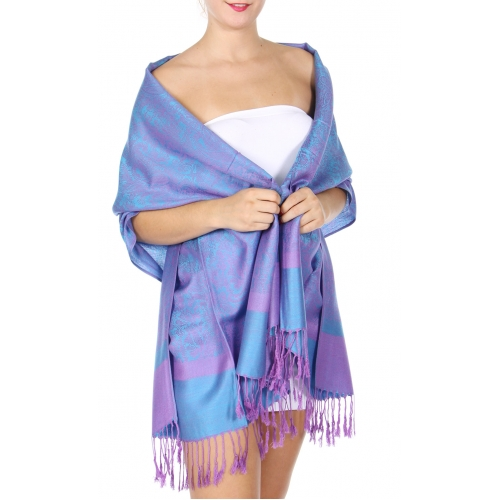 wholesale D37 Whole Jacquard Pashmina 93 Slate Blue
