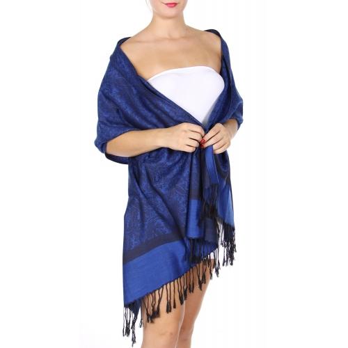 wholesale D37 Whole Jacquard Pashmina 108 Dark Blue