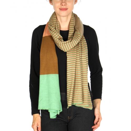 wholesale S18 Color block knit shawl Multi fashionunic