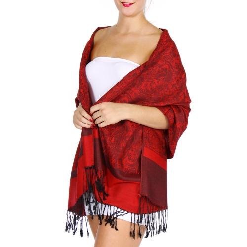 wholesale D33 Whole Jacquard Pashmina 35 Black Red