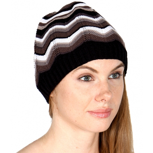 wholesale E05 M wave knit beanie Black/Brown fashionunic