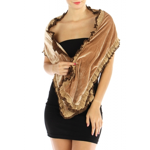 wholesale O75 Ruffle trim velvet shawl Black fashionunic