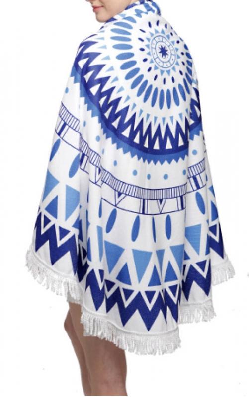 Wholesale O00E Tribal print round beach blanket & shawl w/ fringe