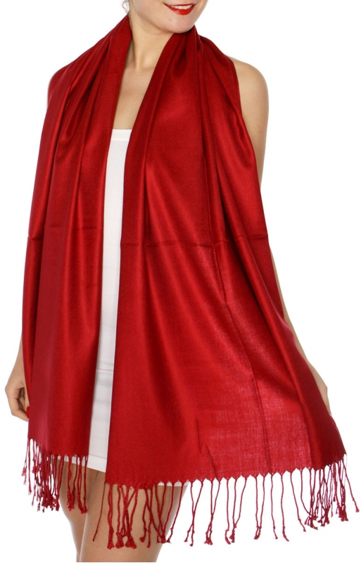 wholesale D63 Silky Solid Wedding Pashmina 66 Dark Red