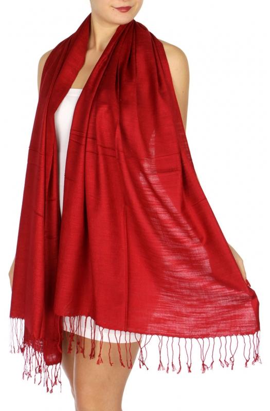 wholesale D01 Silky Light Wedding Pashmina 06 Maroon