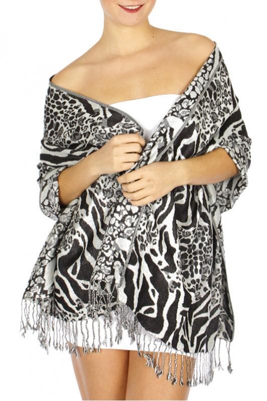 Wholesale D25 Multi animal print Pashmina Black