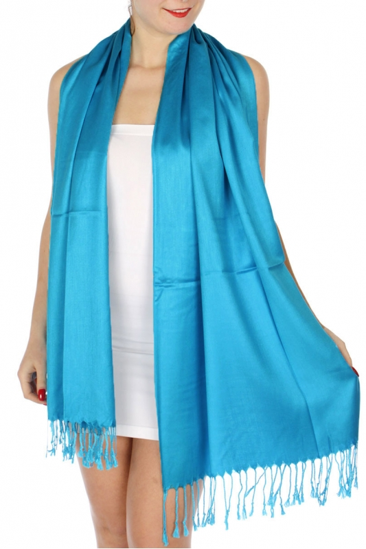 wholesale D36 Solid HD Wedding Pashmina 11 Turquoise