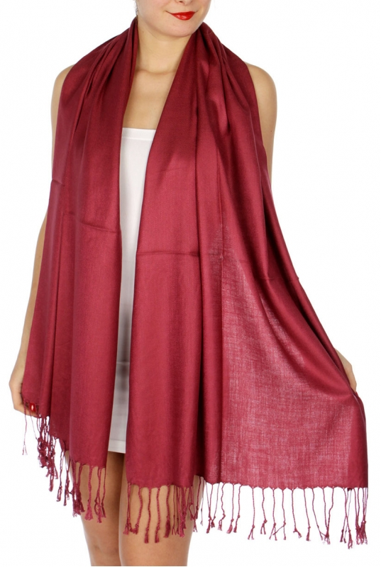 wholesale D45 Silky Solid Wedding Pashmina 06 Wine