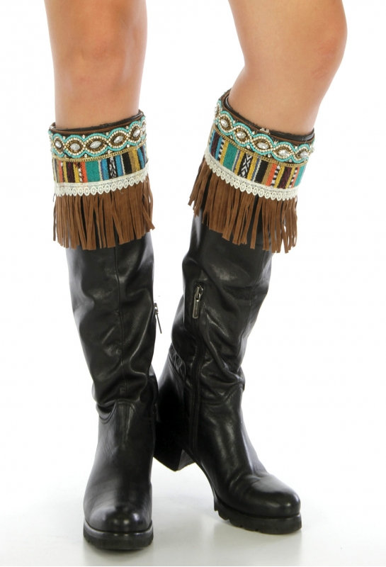 Wholesale Q04 Tribal faux suede boot cuff Brown