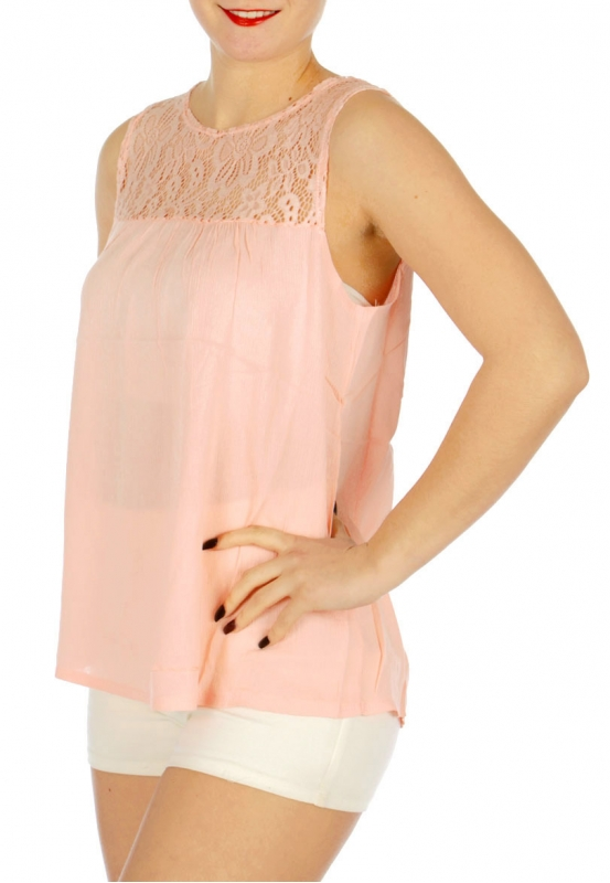 Wholesale N15C Sleeveless lace insert crepe top Black