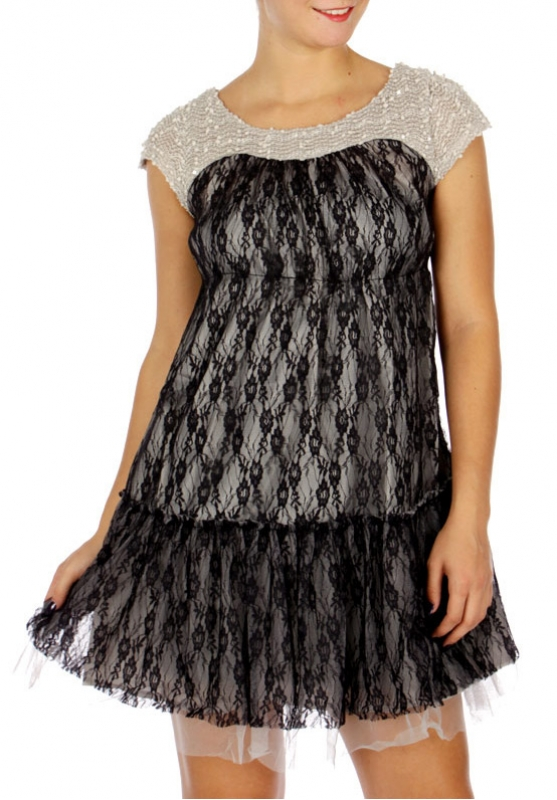 Wholesale N14D Mesh Overlay Dress w/ Detachable Corsage BLACK