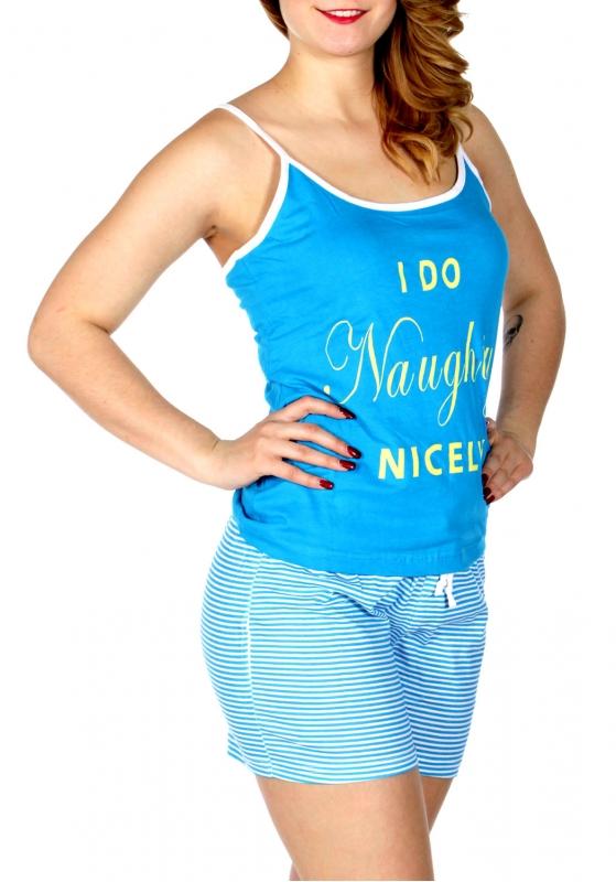 Wholesale Q17-1D NAUGHTY print PJ tank & shorts set Turquoise