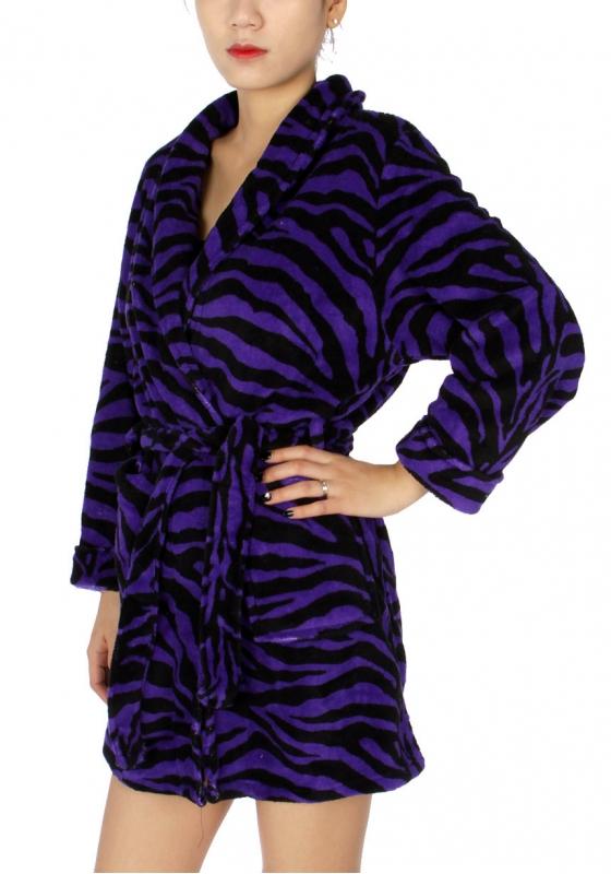 Wholesale T85 Ladies extra cozy plush robe Purple Zebra