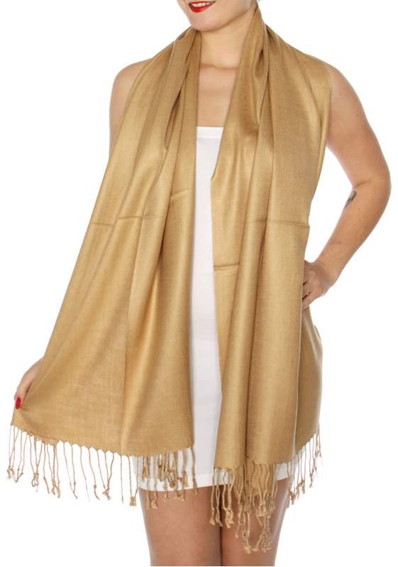 wholesale D45 Silky Solid Wedding Pashmina 63 Sand