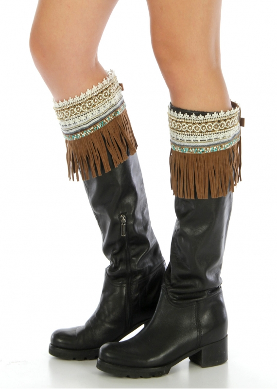 Wholesale Q04 Embellished faux suede boot cuff Brown