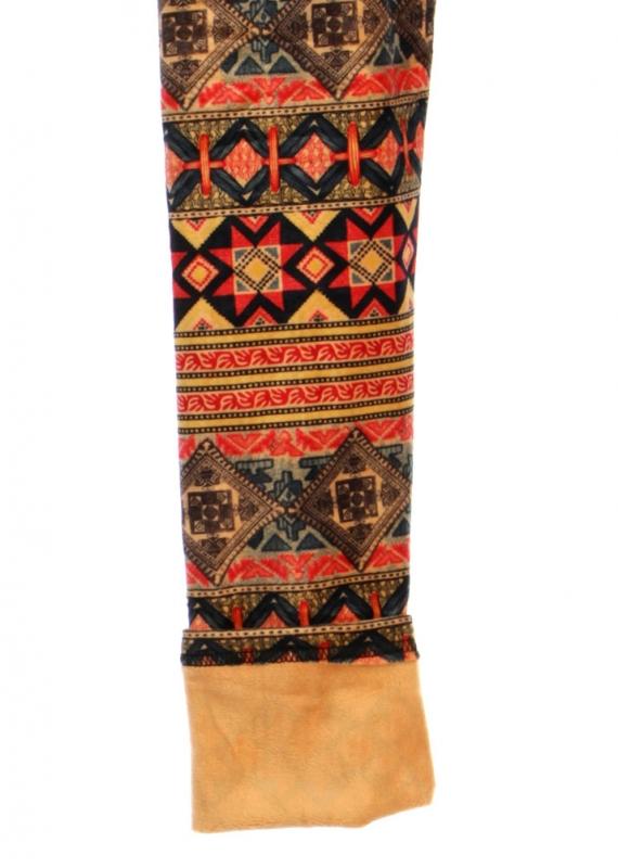 wholesale B18 Tribal stripe fur leggings Coral