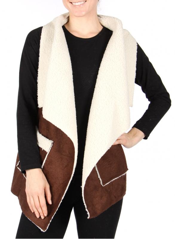 Wholesale R21S Draped faux suede vest Brown