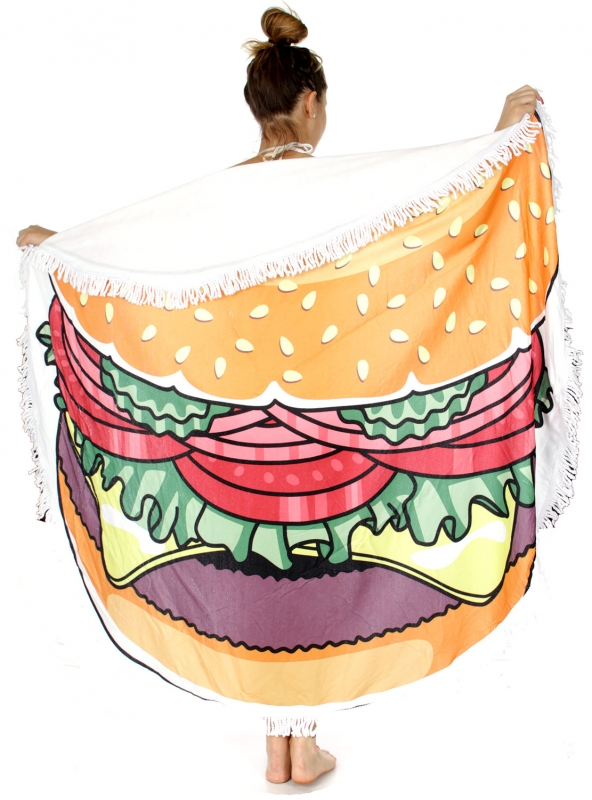 Wholesale WA00 Hamburger round beach shawl / blanket Yellow