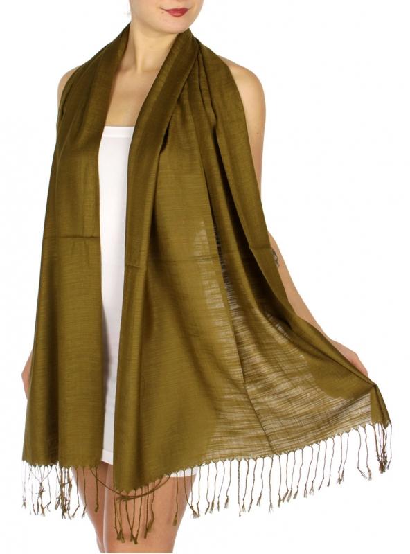 wholesale D01 Silky Light Wedding Pashmina 08 Olive