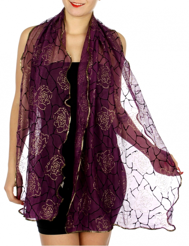 Wholesale H35A Glittery roses sheer ruffled scarf PP