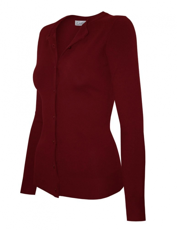Wholesale P45D Ribbed Trim Cardigan Burgundy