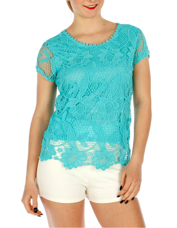 Wholesale P10 Cap sleeve crochet feel top Black