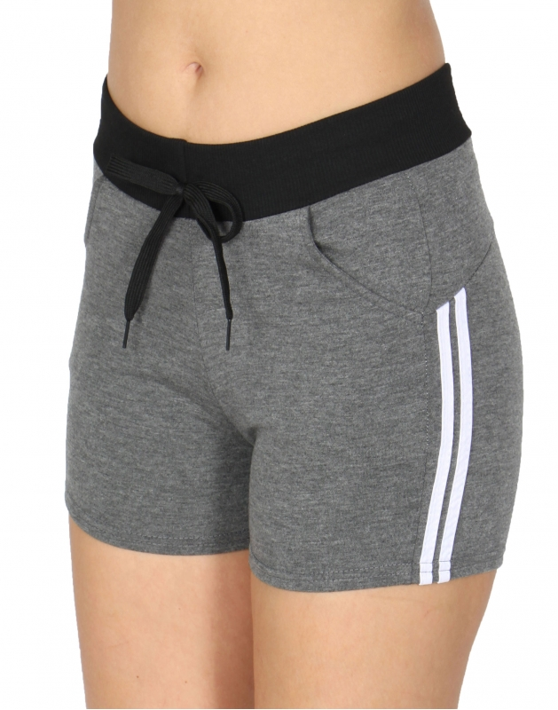 Wholesale B10 Side Stripes Fleece Shorts Black