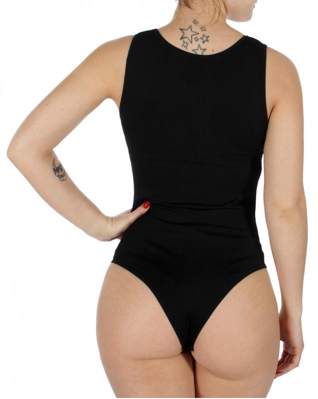 Wholesale M37B Solid sleeveless bodysuit Black