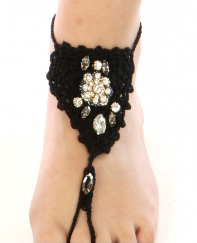 wholesale N40 Clear stone bohemian crochet anklet Black
