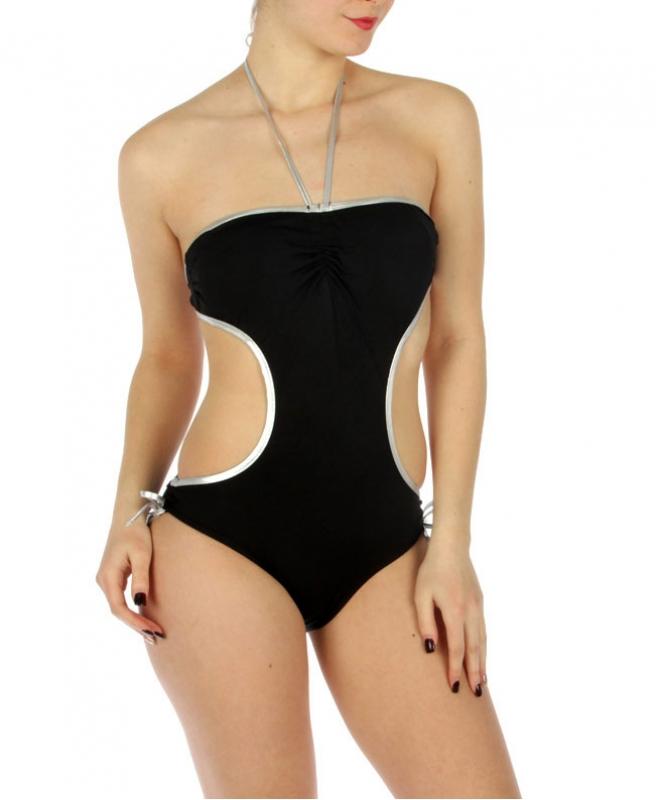 wholesale K16 Silver trim cut out swimsuit BK/Silver