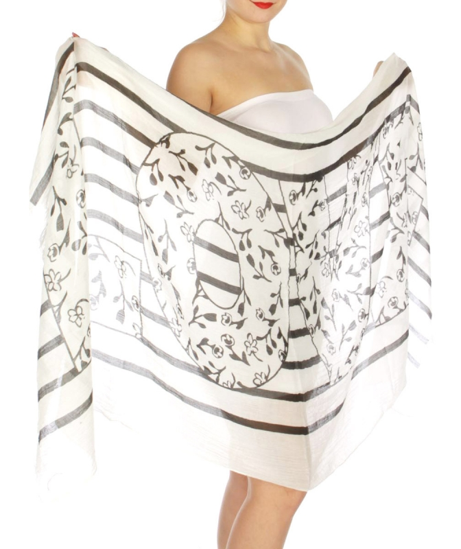 Wholesale J14B LOVE floral prints scarf BK