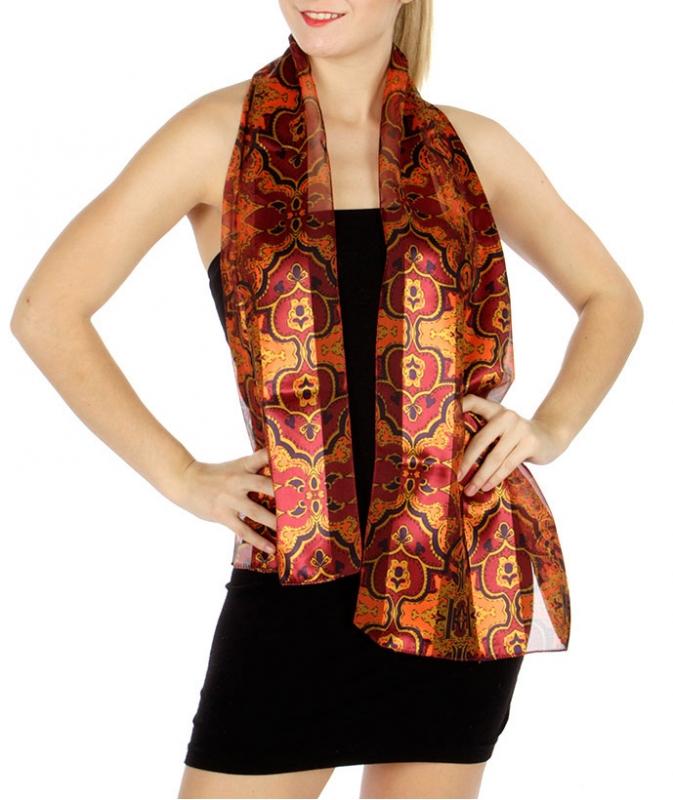 Wholesale WA03  Satin stripe nouveau print scarves BDOR
