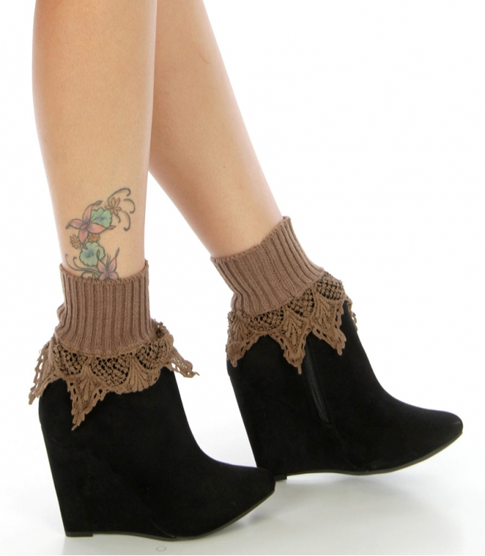 Wholesale T05 Ribbed ankle crochet boot cuff Brown