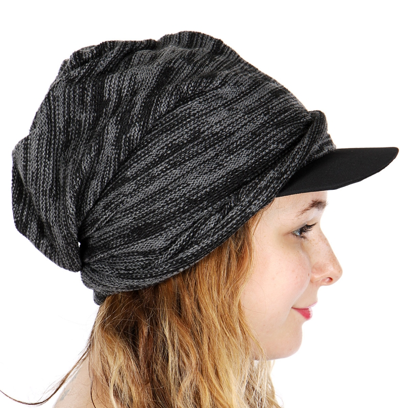 Wholesale BX00 Slouched beanie with brim Black
