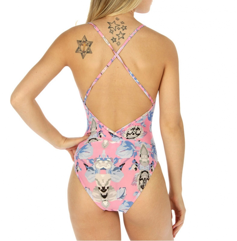 wholesale K97 Floral crossback swimsuit PK/GY